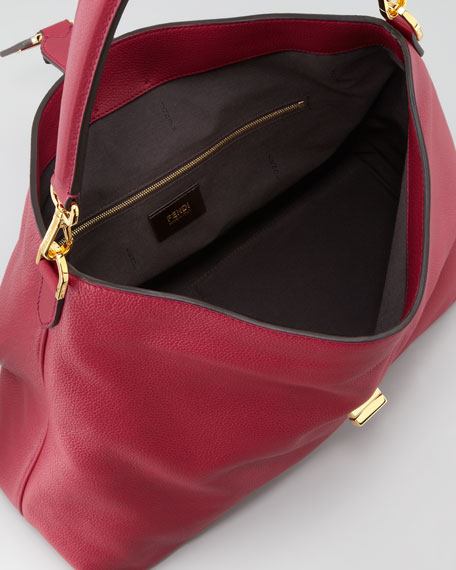 Clasp-Top Leather Hobo Bag, Red