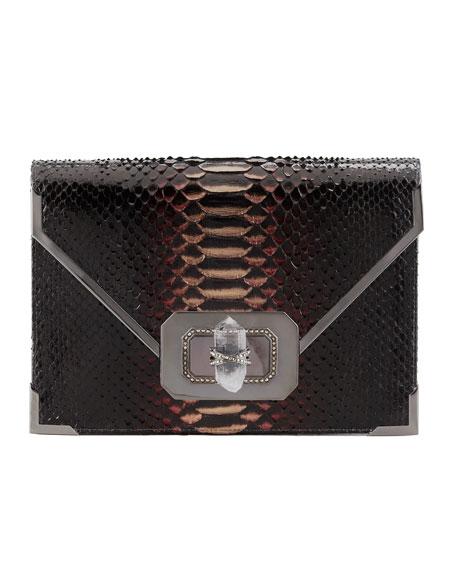 Valentina Large Python Envelope Clutch Bag, Multi