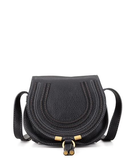 Chloe Marcie Small Leather Crossbody Bag, Black