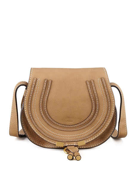 Chloe Marcie Mini Saddle Bag, Nut