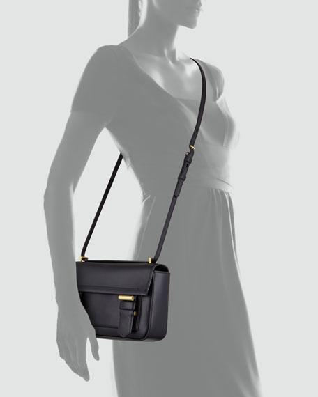 Academy Leather Crossbody Bag, Black