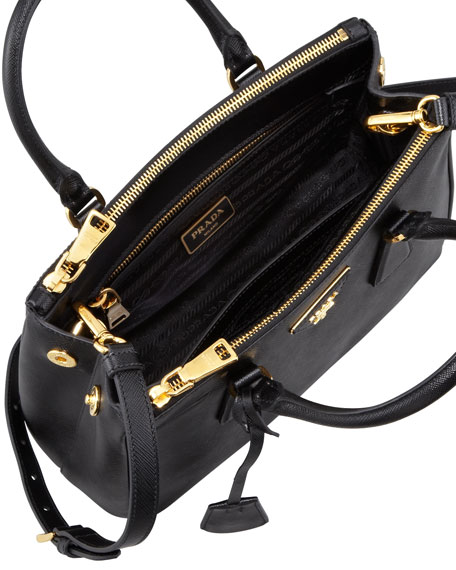 Saffiano Double-Zip Mini Crossbody, Black (Nero)