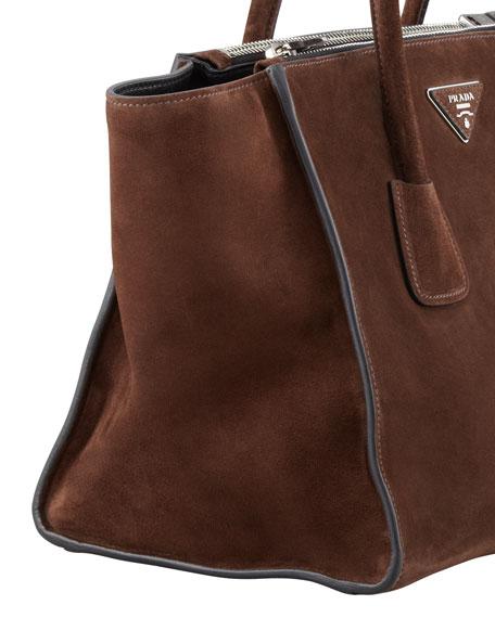 Suede Twin Pocket Tote Bag, Brown (Morgano)