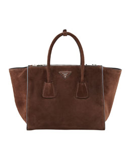 Prada Suede Twin Pocket Tote Bag, Brown