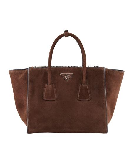 9fede322a7a Prada Suede Twin Pocket Tote Bag, Brown (Morgano)