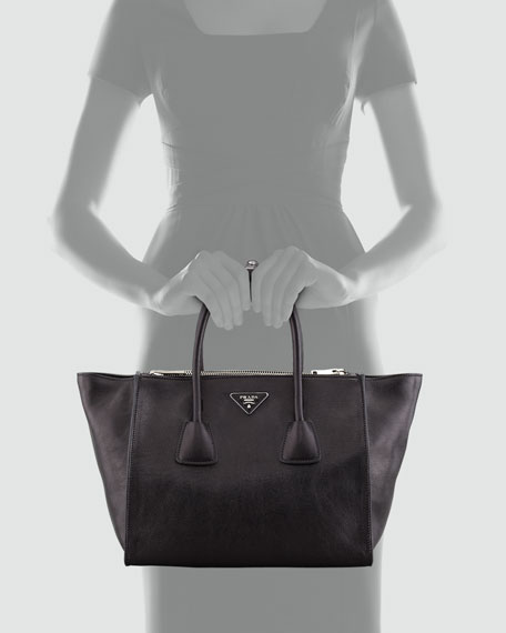 49a4e8a5ae96 Prada Glace Calf Twin Pocket Tote Bag, Black (Nero)