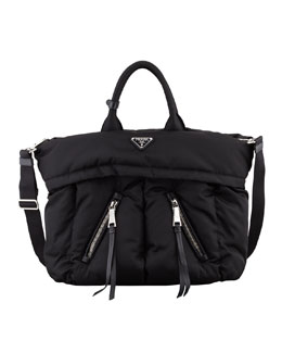 Prada Tessuto Bomber Diagonal-Zip Tote Bag, Black