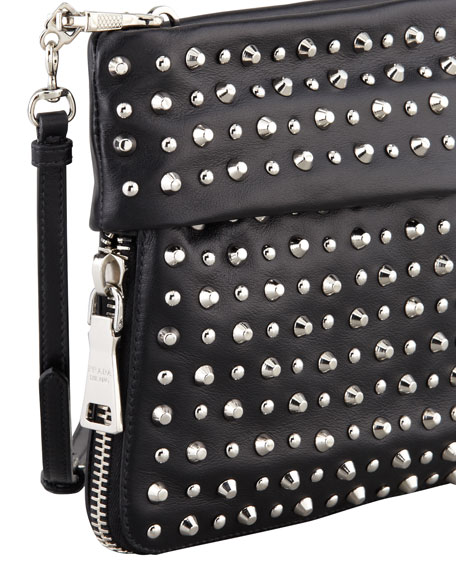 Soft Calf Studded Crossbody Bag, Black