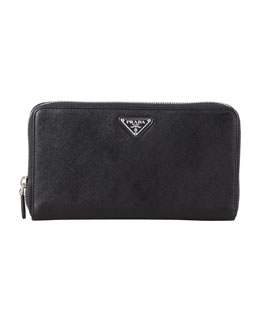 Prada Saffiano Large Zip-Around Travel Wallet, Black (Nero)