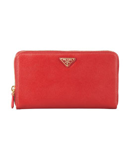 Prada Saffiano Large Zip-Around Travel Wallet,  Red (Fuoco)