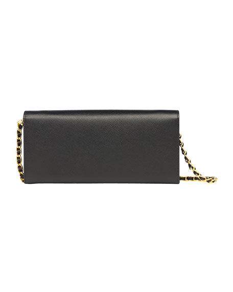 Saffiano Wallet on a Chain, Black (Nero)