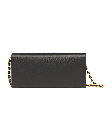 6e08a4aceec786 Prada Saffiano Wallet on a Chain, Black (Nero)