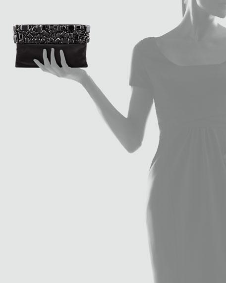 Raso Jeweled Pochette Bag, Black