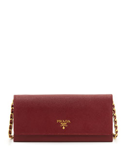 Prada Saffiano Wallet on a Chain, Wine