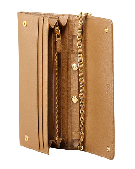 Saffiano Wallet on a Chain, Brown (Caramel)