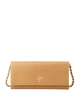 Prada Saffiano Wallet on a Chain, Brown