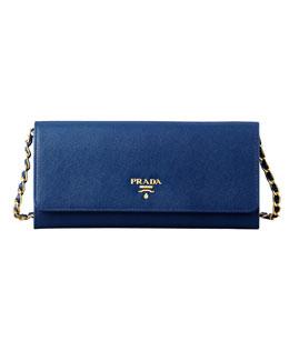 Saffiano Wallet on a Chain, Blue (Bluette)