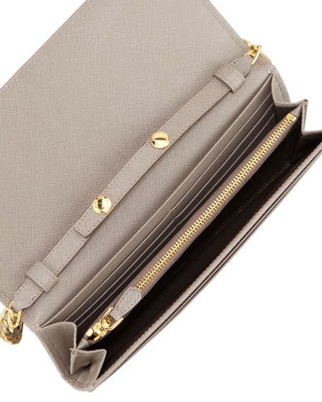 8903516ef74c26 Prada Saffiano Wallet on a Chain, Gray (Argilla)