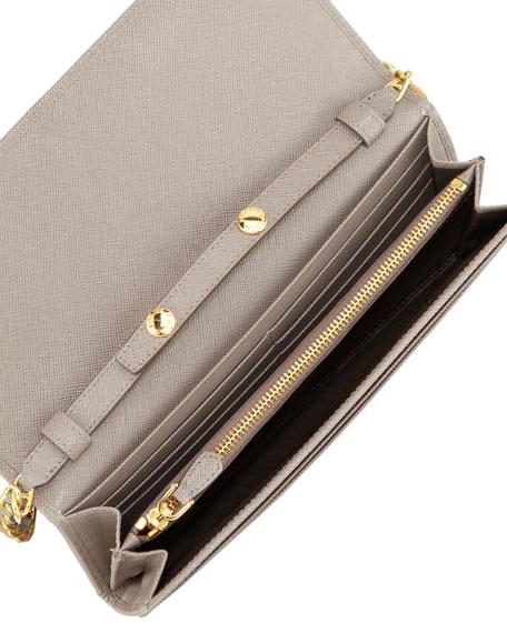 94685f81dea3f4 Prada Saffiano Wallet on a Chain, Gray (Argilla)