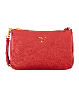 Prada Daino Small Shoulder Bag, Red