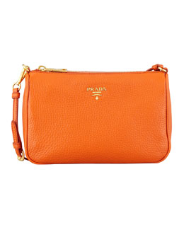 Prada Daino Small Shoulder Bag, Orange