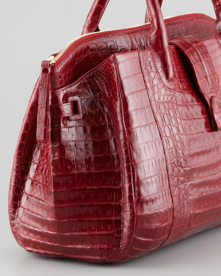 Cristina Center-Zip Crocodile Tote Bag, Red