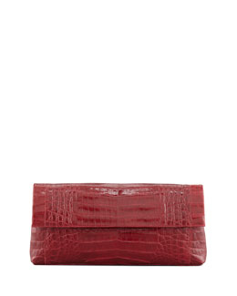 Nancy Gonzalez Soft Flap Crocodile Clutch Bag, Red