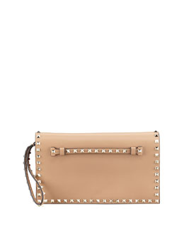 Valentino Rockstud Flap Wristlet Clutch Bag, Tan