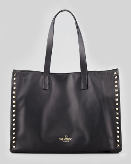 Rockstud Shopping Tote Bag, Black