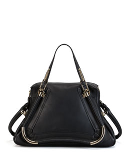 Chloe Paraty Medium Bar-Trim Shoulder Bag, Black
