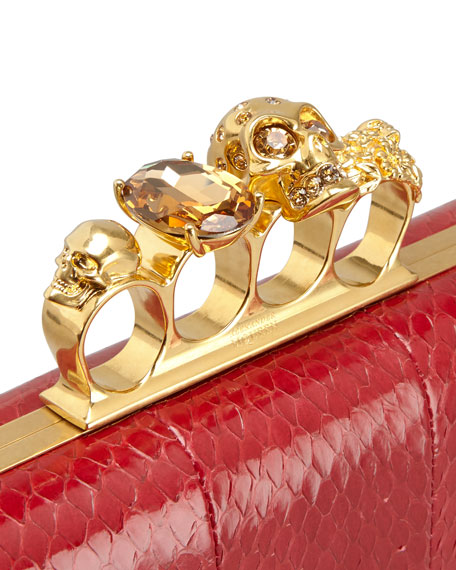 Knuckle-Duster Snakeskin Box Clutch Bag, Ruby