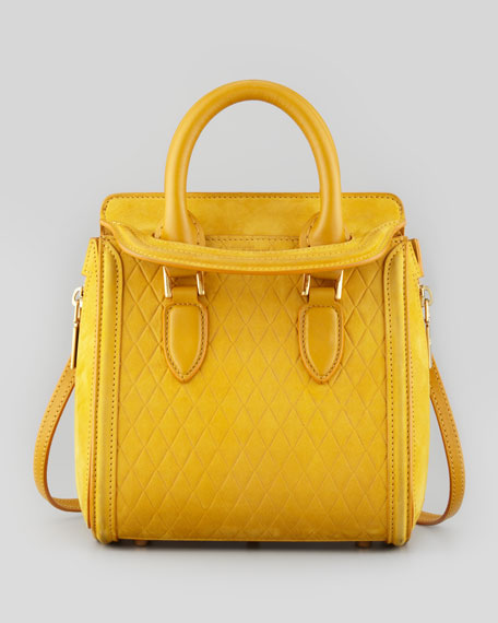 Heroine Mini Embossed Satchel Bag, Gold