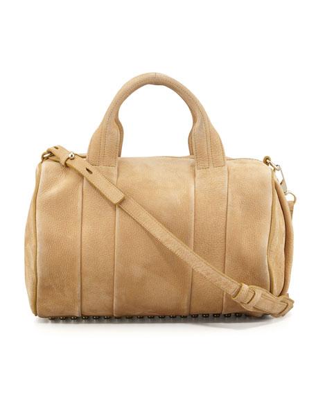 Rocco Stud-Bottom Satchel Bag, Tan/Yellow Golden