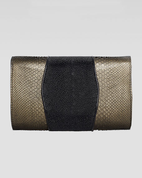 Babo Metallic Python & Stingray Clutch Bag, Copper/Black