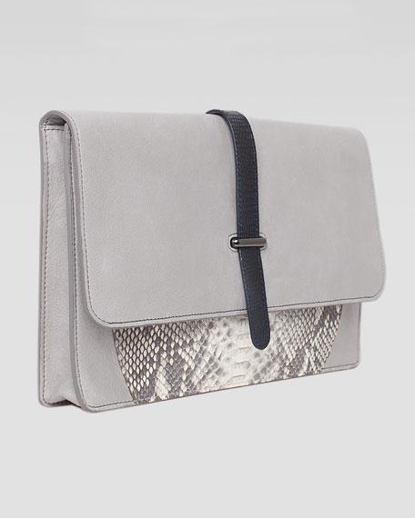 Maxim Python & Lizard Fold-Over Clutch Bag, Gray/Natural
