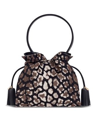 Flamenco 30 Drawstring Calf Hair Bag, Black/Stone