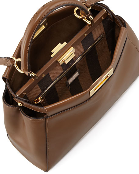 Peekaboo Pequin-Lined Medium Satchel Bag, Brown