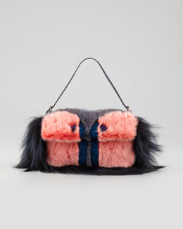 Fendi Fur Monster Baguette Bag, Pink