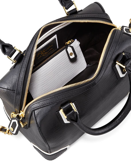 Olivia Lizard-Embossed Bag, Black/White