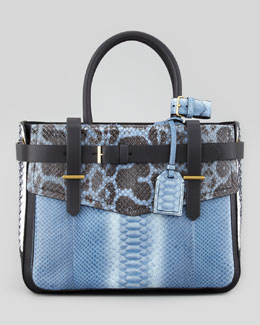 Reed Krakoff Python/Leather Boxer Tote Bag, Blue/Multi