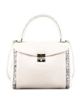 Marc Jacobs Grand Metropolitan Snake-Trimmed Satchel Bag, Milk