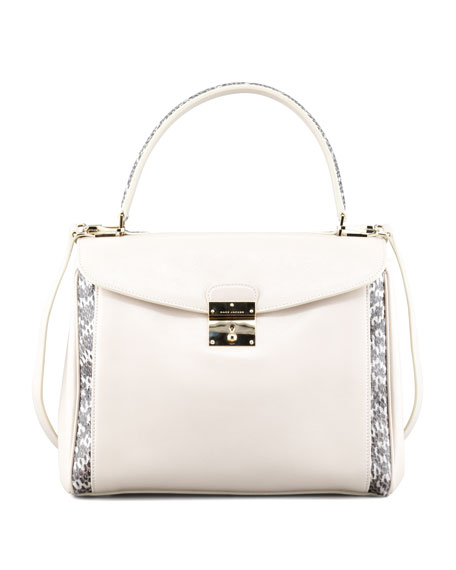 Grand Metropolitan Snake-Trimmed Satchel Bag, Milk