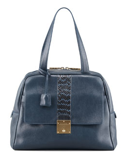 Marc Jacobs Checkers Snake-Trimmed Dome Tote Bag, Atlantic