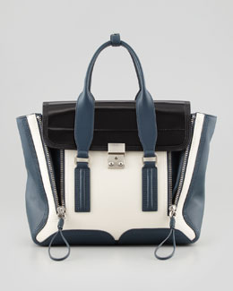 3.1 Phillip Lim Pashli Medium Satchel Bag, Steel/Black/Off White