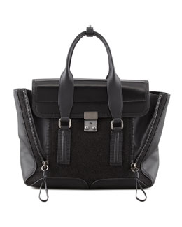 3.1 Phillip Lim Pashli Medium Glitter Satchel Bag, Black