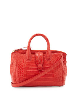 Medium Crocodile Satchel Bag, Orange