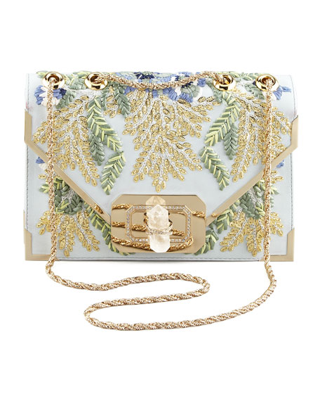 Valentina Floral Embroidered Envelope Clutch Bag, Blue/Multi