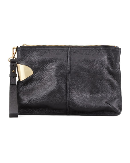 Large Leather Wristlet Clutch Bag, Black