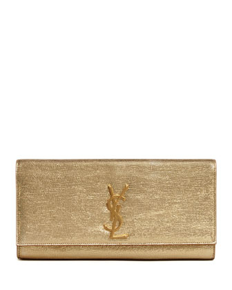 Cassandre Metallic Logo Clutch Bag, Gold
