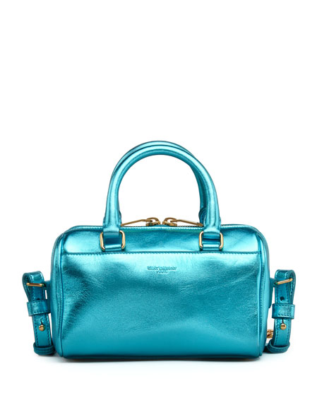 Metallic Duffel Toy Saint Laurent Bag, Blue